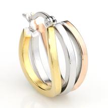 Trendy Tri-Color Silver, Gold & Rose Tone Hoop Earrings- United Elegance image 3