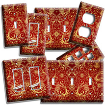 Luxury Red Gold Swirl Persian Pattern Light Switch Cover Plate Outlet Room Decor - $9.99+