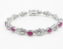 925 Silver - Ruby & Genuine Diamonds Flower Motif Link Chain Bracelet - ... - $63.61