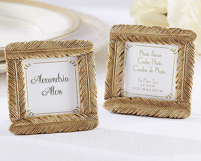 1 Gold Feather Picture Photo Frame Wedding Place Card Holder Anniversary Favor