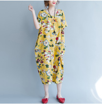 Summer Plus Size Tunic Dress Short Sleeve Maxi Dress Yellow Flower Print NWT