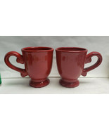 Two (2) ROSCHER China - ALL RED COFFEE MUGS - $26.95