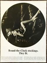 1964 Round-the-Clock Stockings Print Ad Leggy Model Arty Pic Lying on Ro... - $9.89