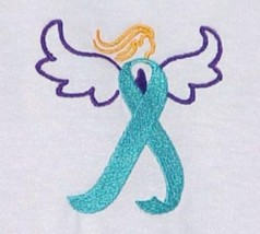 Ovarian Cancer Awareness T Shirt XL Teal Ribbon Angel White Crew Unisex New - $23.49