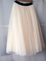Cream Ivory Tulle Maxi Skirt High Waisted Plus Size Ivory Long Maxi Tulle Skirt image 3