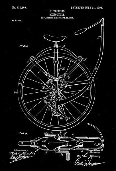 Primary image for 1903 - Monocycle - H. Tolcher - Patent Art Poster