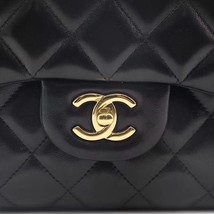NEW AUTHENTIC CHANEL BLACK QUILTED LAMBSKIN JUMBO CLASSIC DOUBLE FLAP BAG GHW image 10