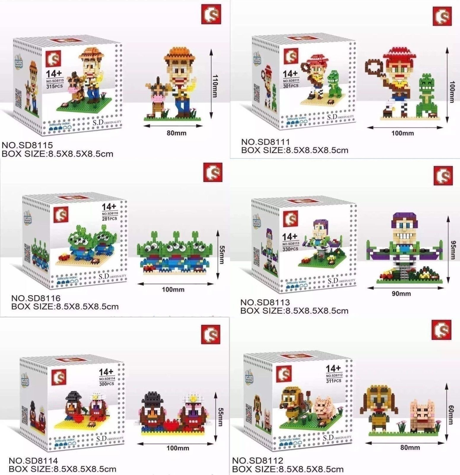 Toy Story Diy Building Blocks Disney Pixar Buzz Lightyear Woody Nanoblock 6 Sets