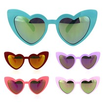 Girls Lolita Child Size Heart Shape Mirrored Cat Eye Plastic Sunglasses - $9.95