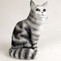 MAINE COON SILVER CAT Figurine Statue Hand Painted Resin Gift - $16.74