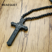 Meaeguet Large Wood Catholic Jesus Cross With Wooden Bead Carved Rosary ... - $14.74