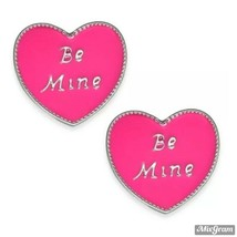 Macy's Holiday Lane Silver-Tone Be Mine Heart Stud Earrings Pink NEW NWT... - $3.96