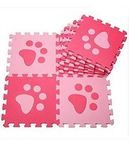 Interlocking Foam Mats EVA Foam Floor Mats (10 Tiles) Pink Footprints