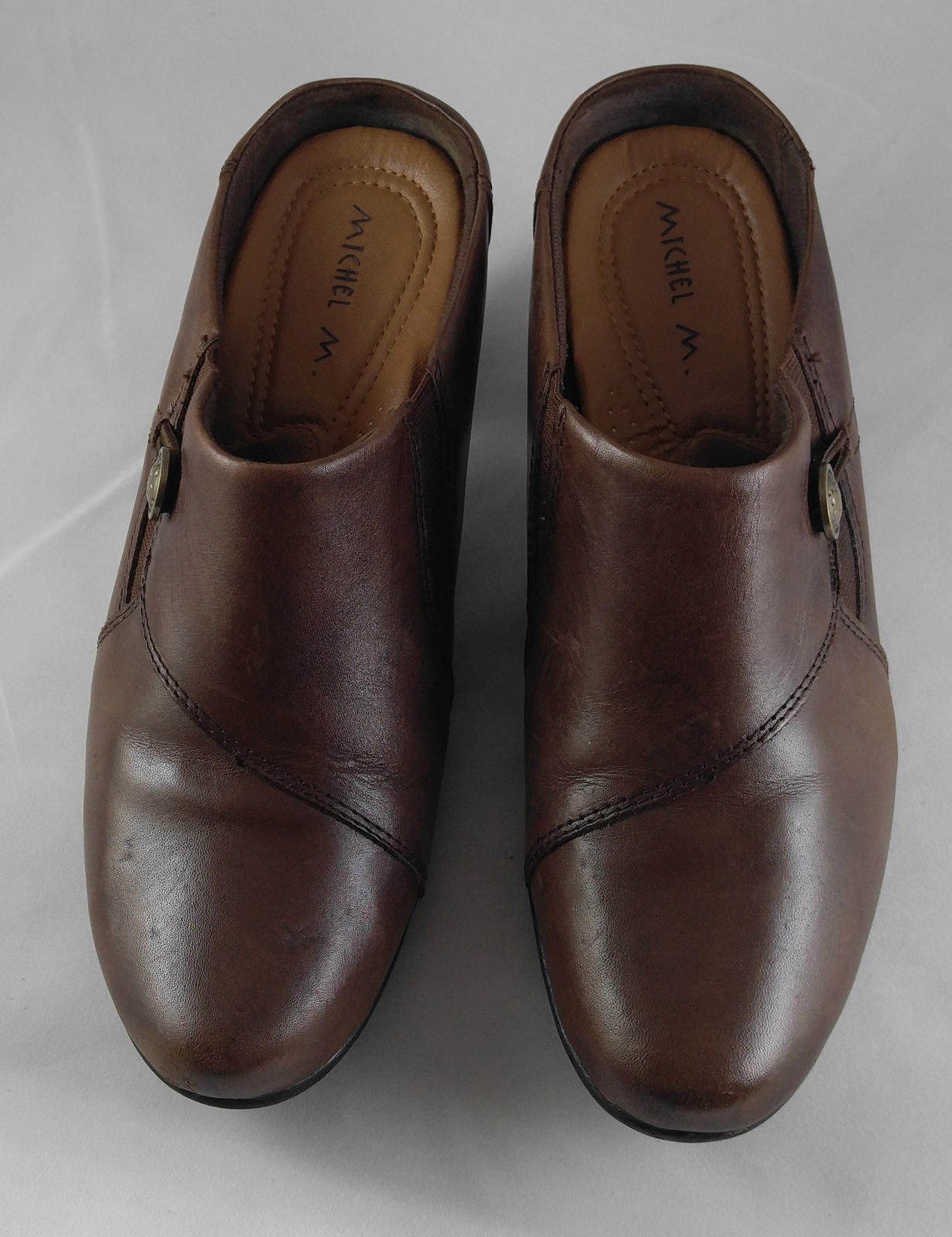 Michel M. Women's Brown Leather Mules Comfort Slip-On Heels Maryport Size 8.5