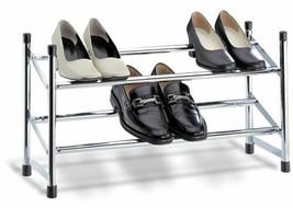 NEW Closet Shoe Storage Rack 2 Tier Chrome Organizer Space Saving Expand... - $39.50