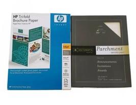 HP Tri-Fold Glossy Brochure 44 lb bond For Inkjet + Parchment Paper Lot - $27.71