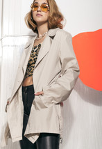 Trench coat - 80s vintage beige jacket - $46.80