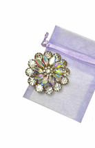 "2"" Tall Silver Tone Cluster Flower Brooch Pin Aurora Borealis Acrylic Crystals - $16.63"