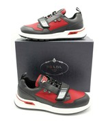 NIB PRADA Mechano Leather Technical Fabric Single Strap Sneakers Shoes 1... - $345.00
