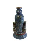 Chinese Oriental Vintage Pastel Purple Blue Cats Floral Graphic Figure c... - $485.00