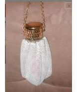Vintage Gate Top Whiting & Davis White Enamel metal bead-mesh Purse - $113.85
