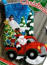 Bucilla Christmas Drive Santa Farm Truck Christmas Eve Felt Stocking Kit... - $39.95