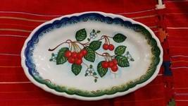 Hand painted Ceramic Plate Cherries Beautiful design - $35.63