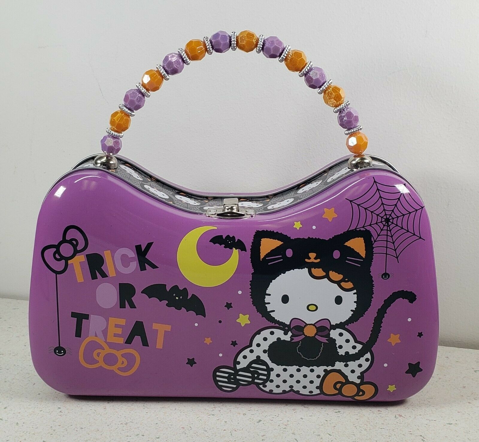 Primary image for Sanrio Hello Kitty Halloween Trick or Treat Tin Beaded Handle Purse Lunch Box