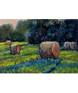 Original Oil Painting Okla  landscape Hay bales miniature SFA - $5.00