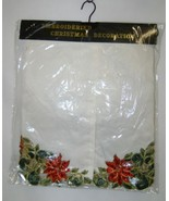 Embroidered 54 Inch Christmas Tree Skirt Ivory Red Poinsettias - $48.95