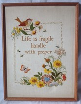 "Life is Fragile Handle with Prayer Framed Crewel Needlepoint 19.5 x 25.5"" - $29.95"