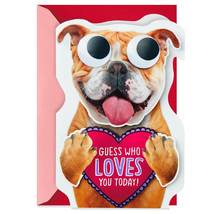 Bulldog Guess Who Loves You Funny Valentine's Day Card With Envelope  - $7.99