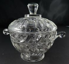 Heavy glass footed sugar bowl Vintage Retro deco - $20.00