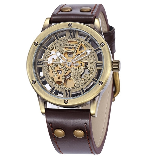 Primary image for Vintage Bronze Men's Skeleton Watch Clock Male stainless steel Strap Antique Ste
