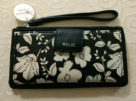NWT Relic by Fossil Cameron Bifold Checkbook Phone Wristlet Wallet Black... - $24.00