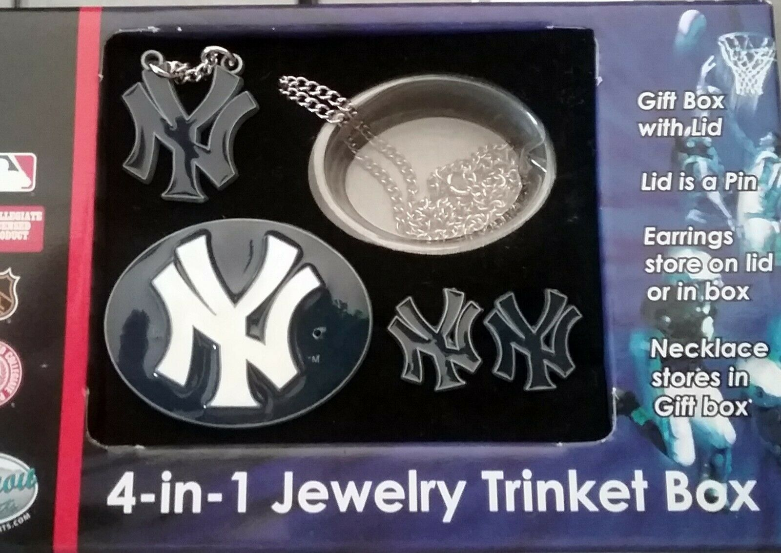 NEW YORK YANKEES JEWELRY SET. EARRINGS PIN NECKLACE SMALL METAL BOX NEW MLB LIC