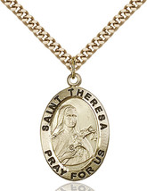 14K Gold Filled St. Theresa Pendant 1 x 5/8 inch with 24 inch Chain - $127.71