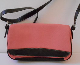 Canvas Liz Claiborne Shoulder Bag Medium Sz Peach/Salmon/Rose Purse--MINT - $14.99