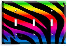 Rainbow Zebra Stripe Animal Print 3 Gang Light Switch Wall Plate Room Home Decor - $18.99
