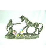 Vintage BKS Fine Pewter Girl Reaching Out to Unicorn And Amazing Crystals - $29.65