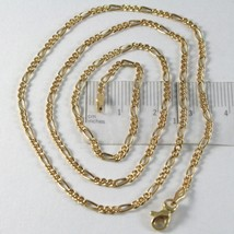 18K GOLD FIGARO CHAIN 2 MM WIDTH 24 INCH LENGTH ALTERNATE NECKLACE MADE IN ITALY image 1