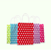 Pack of 12 White Polka Dot Design Gift Bags Multiple Colors and Sizes Available - $9.49+