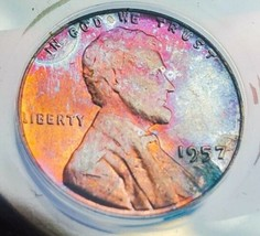 1957 MS63 LINCOLN WHEAT CENT *ATRACTIVE  TONING *   . - $83.30