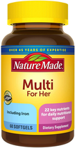 Nature Made Women's Multivitamin Softgels with Vitamin D3 and Iron, 60 Count  - $18.80
