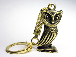 Owl, bird - a bronze keychain, metal owl, gift, collectible item,key ring - $6.50