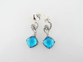 David Yurman Sterling Silver Blue Topaz Cushion on Point Diamond Earrings - $371.25