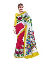 Hand Printed Murshidabad Pure Silk & Matka Saree With Blouse Pices Red W... - $101.01