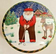 Mikasa Large Christmas Covered Round Trinket Box With Lid Santa's Putt U... - $23.38