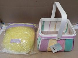 "Easter Wooden Basket & Plastic Yellow Grass Ashland 7 1/2"" x 4 1/2"" Deep 162M - $12.49"
