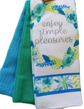 FLORAL Design KITCHEN SET 6pc Dish Towels Potholders Oven Mitt Blue Flower Enjoy image 2